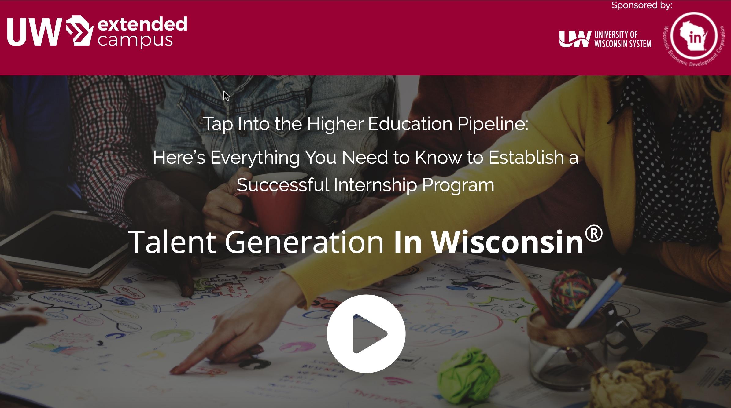 "UW System slider - text ""Talent Generation In Wisconsin"""